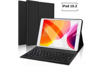 Apple iPad 7th Gen Generation 10.2 Inch 2019 Bluetooth Keyboard Case Cover, Lightweight Protective Slim Folio Leather Smart Sleep Awake Cover Case with Detachable Wireless Bluetooth Keyboard (Black)