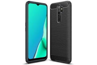 For Oppo A9 2020 Case, Rugged Shockproof Heavy Duty Anti Slip Protective Case Cover (Black)