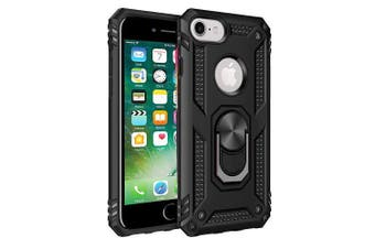 For Apple iPhone 6/6S Case, Military Grade 360 Degree Rotating Metal Magnetic Ring Car Mount Holder Kickstand Shockproof Heavy Duty Cover (Black)