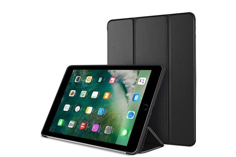 For Apple iPad 6th Gen Case, 6 Generation Cover 9.7 2018 Folio Leather Smart Magnetic Flip Stand Case Cover (Black)