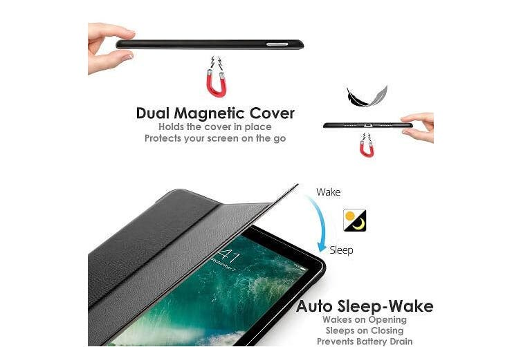 For Apple iPad 7th Gen Case,  7 Generation Cover 10.2 2019 Folio Leather Smart Magnetic Flip Stand Case Cover (Black)