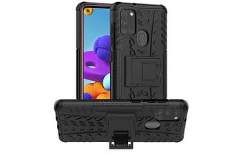 Samsung Galaxy A21S Case, Shockproof Heavy Duty Tough Kickstand Protective Rugged Case Cover (Black)