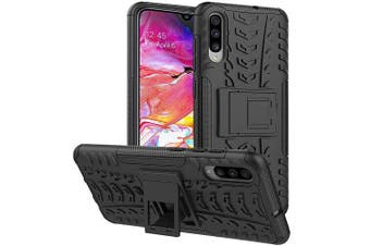 Samsung Galaxy A70 Case, Shockproof Heavy Duty Tough Kickstand Protective Rugged Case Cover (Black)