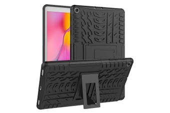 For Samsung Galaxy Tab A 10.1 2019 Case, Tab SM-T510 SM-T515 Kickstand Shockproof Heavy Duty Tough Protective Rugged Cover (Black)