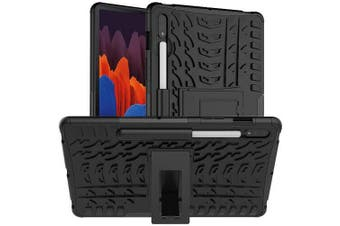 For Samsung Galaxy Tab S7 Plus SM-T970 /T975 /T976B Shockproof Heavy Duty Rugged Case Cover Case, Kickstand Shockproof Heavy Duty Tough Protective Rugged Cover (Black)