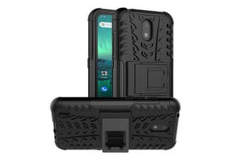 Nokia 1.3 Case, Shockproof Heavy Duty Tough Kickstand Protective Rugged Case Cover (Black)
