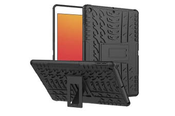 For Apple iPad 8th Gen Case, 8 Generation 10.2 2020 Case, Kickstand Shockproof Heavy Duty Tough Protective Rugged Cover (Black)