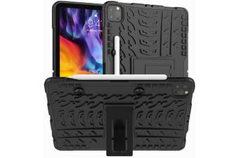 For Apple iPad Pro 11 2020 Case, iPad Pro 11 2nd Gen Kickstand Shockproof Heavy Duty Tough Protective Rugged Cover (Black)