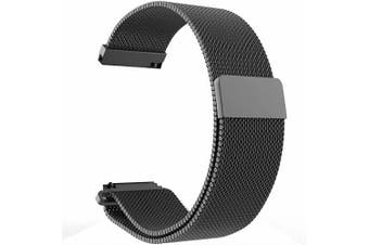 Replacement WristBand Magnetic Milanese Band for Garmin Vivoactive 3 Smart Watch (Black)