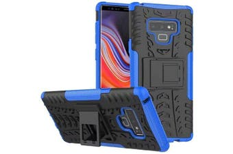 For Samsung Galaxy Note 9 Case, Kickstand Shockproof Heavy Duty Tough Protective Rugged Cover (Blue)
