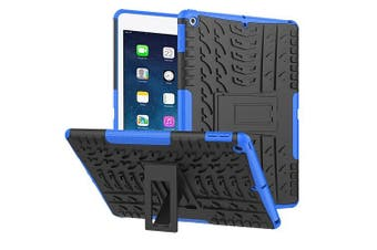 For Apple iPad Mini 1/2/3 Case, Kickstand Shockproof Heavy Duty Tough Protective Rugged Cover (Blue)