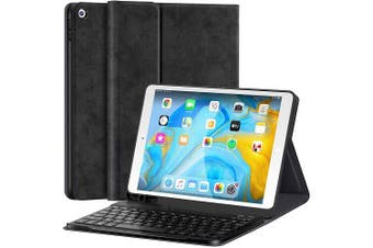 iPad 7th Gen Generation 10.2 Inch 2019 Bluetooth Keyboard Case Cover, Lightweight Protective Slim Folio Leather Smart Sleep Awake Cover Case with Detachable Wireless Bluetooth Keyboard (Black)