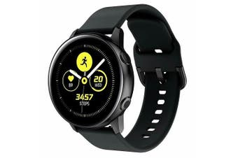 For Samsung Galaxy Watch Active 2 44mm Replacement Silicone Sport Wrist Band Strap (Black)