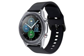 For Samsung Galaxy Watch 3 41mm Replacement Silicone Sport Wrist Band Wristband Strap (Black)
