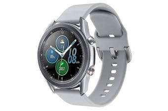 For Samsung Galaxy Watch 3 41mm Replacement Silicone Sport Wrist Band Wristband Strap (Grey)