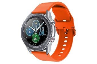 For Samsung Galaxy Watch 3 41mm Replacement Silicone Sport Wrist Band Wristband Strap (Orange)
