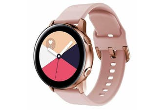For Samsung Galaxy Watch Active 2 44mm Replacement Silicone Sport Wrist Band Strap (Rose Gold)