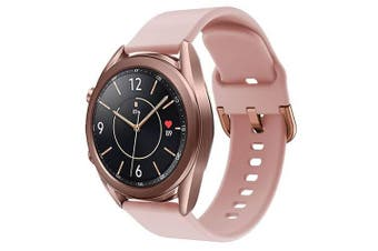 For Samsung Galaxy Watch 3 41mm Replacement Silicone Sport Wrist Band Wristband Strap (Rose Gold)