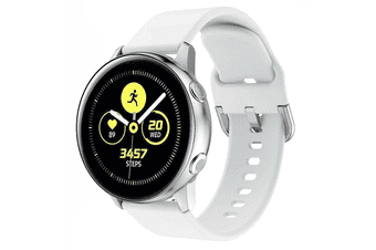 For Samsung Galaxy Watch Active 2 44mm Replacement Silicone Sport Wrist Band Strap (White)