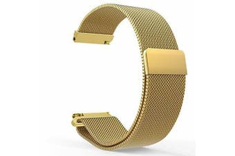 Replacement WristBand Magnetic Milanese Band for Garmin Vivoactive 3 Smart Watch (Gold)
