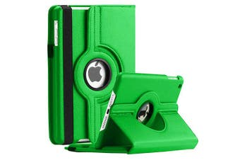 For Apple iPad 5th Gen Cover, iPad 5 Generation 9.7 2017 Leather Smart 360 Rotate Flip Stand Case Cover (Green)