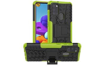 Samsung Galaxy A21S Case, Shockproof Heavy Duty Tough Kickstand Protective Rugged Case Cover (Green)