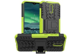 For Nokia 2.3 Case, Kickstand Shockproof Heavy Duty Tough Protective Rugged Cover (Green)