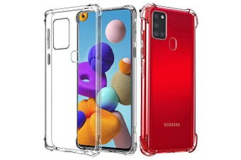 For Samsung Galaxy A21s Case Shockproof Tough Air Cushion Gel Clear Transparent Heavy Duty Case Cover