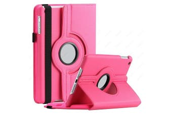For Samsung Galaxy Tab A 8.0 2019 Cover, Tab SM-T290 / T295 Leather Smart 360 Rotate Flip Stand Case Cover (Hot Pink)