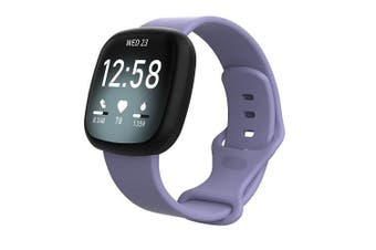 For Fitbit Sense Replacement Wrist Band Wristband Silicone Sports Watch (Light Purple-Large Size)