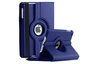 For Apple iPad 7th Gen Cover, iPad 7 Generation 10.2 2019 Leather Smart 360 Rotate Flip Stand Case Cover (Navy Blue)