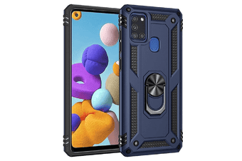For Samsung Galaxy A21s Case, Military Grade 360 Degree Rotating Metal Magnetic Ring Car Mount Holder Kickstand Shockproof Heavy Duty Cover (Navy Blue)