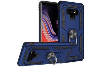 For Samsung Galaxy Note 9 Case, Military Grade 360 Degree Rotating Metal Magnetic Ring Car Mount Holder Kickstand Shockproof Heavy Duty Cover (Navy Blue)