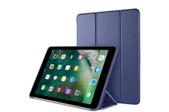 For Apple iPad 5th Gen Case, 5 Generation Case 9.7 2017 Folio Leather Smart Magnetic Flip Stand Case Cover (Navy Blue)