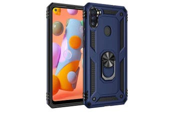 For Samsung Galaxy A11 Case, Military Grade 360 Degree Rotating Metal Magnetic Ring Car Mount Holder Kickstand Shockproof Heavy Duty Cover (Navy Blue)