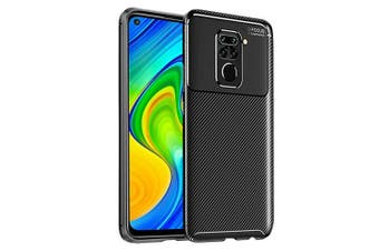 For Xiaomi Redmi Note 9 Case Rugged Shockproof Heavy Duty Anti Slip Protective Case Cover (Black)