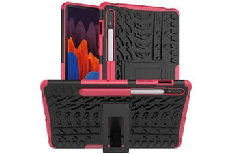 For Samsung Galaxy Tab S7 SM-T870 /T875 /T876B Shockproof Heavy Duty Rugged Case Cover Case, Kickstand Shockproof Heavy Duty Tough Protective Rugged Cover (Pink)