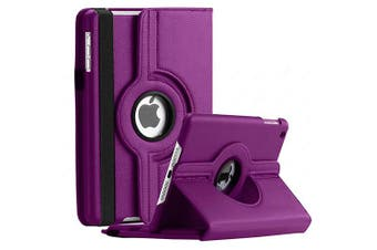 For Apple iPad 7th Gen Cover, iPad 7 Generation 10.2 2019 Leather Smart 360 Rotate Flip Stand Case Cover (Purple)