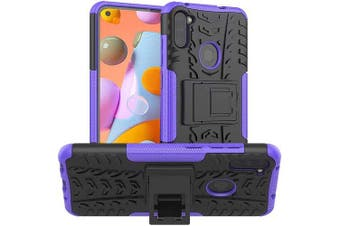 Samsung Galaxy A11 Case, Shockproof Heavy Duty Tough Kickstand Protective Rugged Case Cover (Purple)