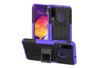 Samsung Galaxy A20/A30 Shockproof Heavy Duty Tough Kickstand Protective Rugged Case Cover (Purple)
