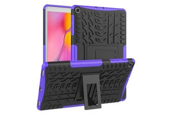 For Samsung Galaxy Tab A 10.1 2019 Case, Tab SM-T510 SM-T515 Kickstand Shockproof Heavy Duty Tough Protective Rugged Cover (Purple)