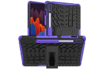 For Samsung Galaxy Tab S7 Plus SM-T970 /T975 /T976B Shockproof Heavy Duty Rugged Case Cover Case, Kickstand Shockproof Heavy Duty Tough Protective Rugged Cover (Purple)