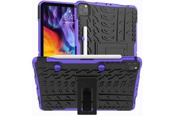 For Apple iPad Pro 11 2020 Case, iPad Pro 11 2nd Gen Kickstand Shockproof Heavy Duty Tough Protective Rugged Cover (Purple)