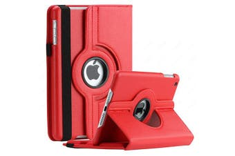For Apple iPad 7th Gen Cover, iPad 7 Generation 10.2 2019 Leather Smart 360 Rotate Flip Stand Case Cover (Red)