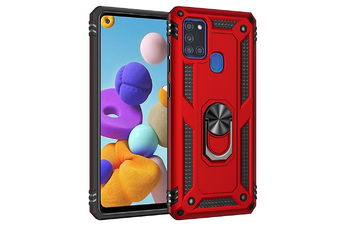 For Samsung Galaxy A21s Case, Military Grade 360 Degree Rotating Metal Magnetic Ring Car Mount Holder Kickstand Shockproof Heavy Duty Cover (Red)