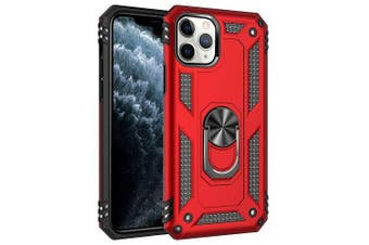 For Apple iPhone 11 Pro Case, Military Grade 360 Degree Rotating Metal Magnetic Ring Car Mount Holder Kickstand Shockproof Heavy Duty Cover (Red)