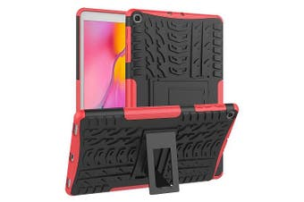 For Samsung Galaxy Tab A 10.1 2019 Case, Tab SM-T510 SM-T515 Kickstand Shockproof Heavy Duty Tough Protective Rugged Cover (Red)