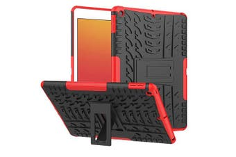 For Apple iPad 8th Gen Case, 8 Generation 10.2 2020 Case, Kickstand Shockproof Heavy Duty Tough Protective Rugged Cover (Red)