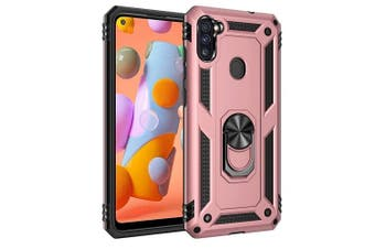 For Samsung Galaxy A11 Case, Military Grade 360 Degree Rotating Metal Magnetic Ring Car Mount Holder Kickstand Shockproof Heavy Duty Cover (Rose Gold)