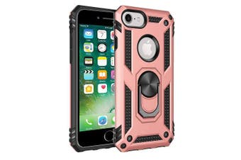 For Apple iPhone 7 /8 Case, Military Grade 360 Degree Rotating Metal Magnetic Ring Car Mount Holder Kickstand Shockproof Heavy Duty Cover (Rose Gold)